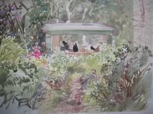 tuin met kippen