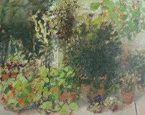 Tuintje 1990  30 x 40 cm. olie op linnen