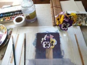 Viooltjes,  watercolor 18x13cm.