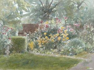 """Cécile Hessels - """"Cottagetuin Mien Ruys"""" 75x55 cm. aquarel"""