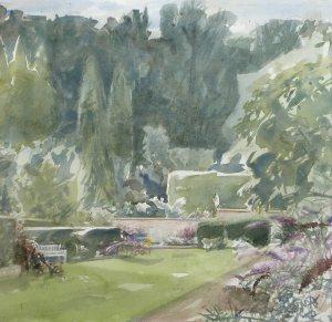 """Cécile Hessels- """"Tuinen Mien Ruys 50x54cm. aquarel"""